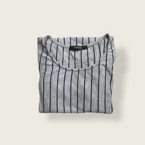 3/$30 Basic Grey T-shirt Black Vertical Stripes XS